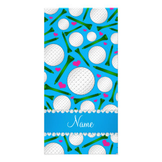 Personalized name sky blue golf balls tees hearts photo card