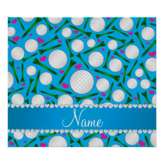 Personalized name sky blue golf balls tees hearts poster