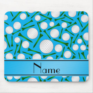 Personalized name sky blue golf balls tees mousepads