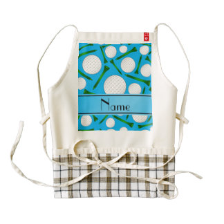 Personalized name sky blue golf balls tees zazzle HEART apron