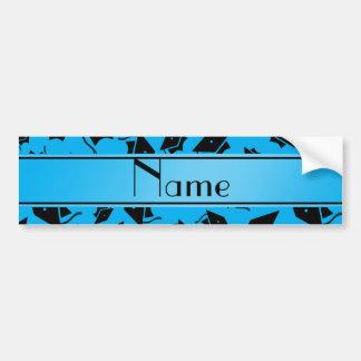 Personalized name sky blue graduation cap bumper sticker