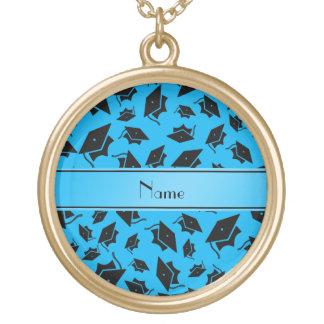 Personalized name sky blue graduation cap personalized necklace