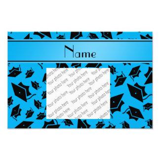 Personalized name sky blue graduation cap photographic print