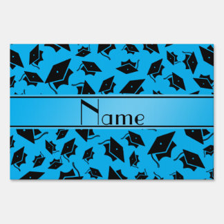 Personalized name sky blue graduation cap yard sign