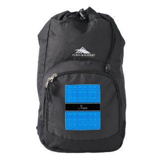 Personalized name sky blue greek key pattern backpack