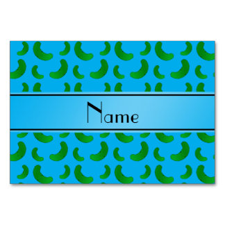 Personalized name sky blue green pickles table card