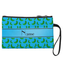 Personalized name sky blue green pickles wristlet wallet
