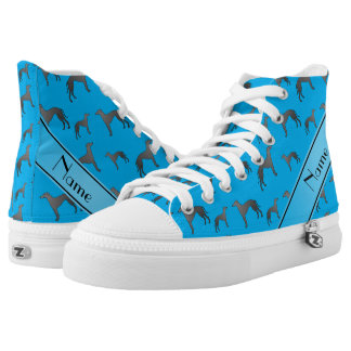 Personalized name sky blue Greyhound dogs Printed Shoes