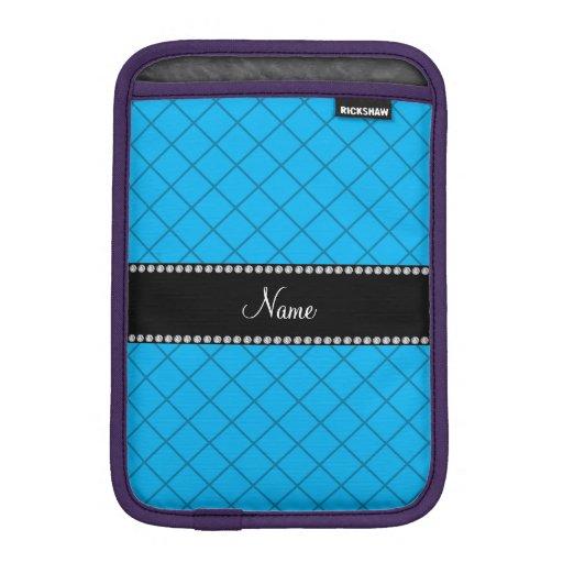 Personalized name sky blue grid pattern iPad mini sleeves