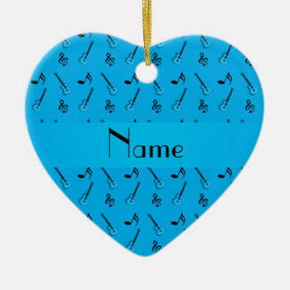 Personalized name sky blue guitar pattern christmas ornament