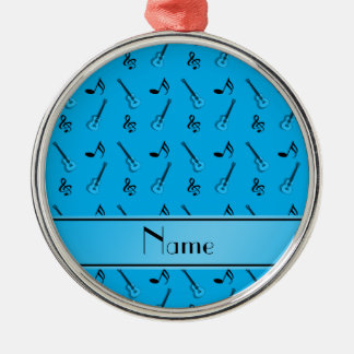 Personalized name sky blue guitar pattern ornament