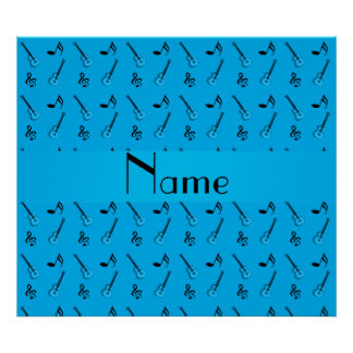 Personalized name sky blue guitar pattern posters