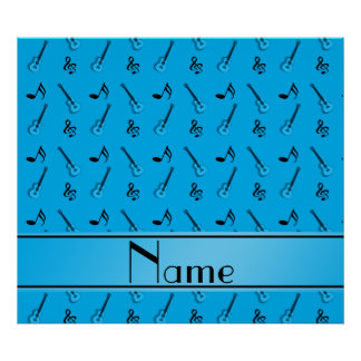 Personalized name sky blue guitar pattern print
