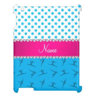 Personalized name sky blue gymnastics blue stars iPad cover