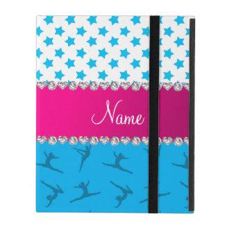 Personalized name sky blue gymnastics blue stars iPad covers