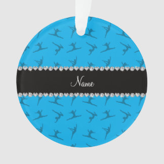 Personalized name sky blue gymnastics pattern