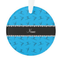 Personalized name sky blue gymnastics pattern ornament