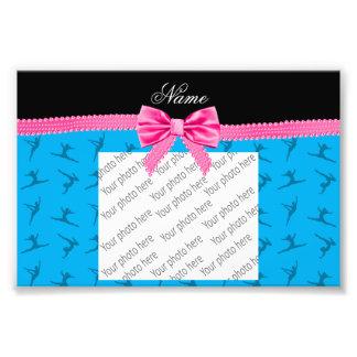Personalized name sky blue gymnastics pink bow photo print