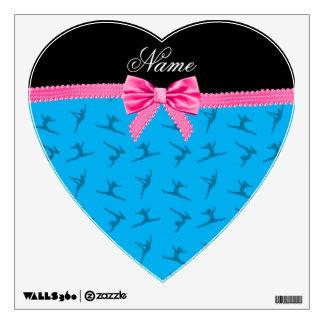 Personalized name sky blue gymnastics pink bow wall skin