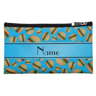 Personalized name sky blue hamburger pattern makeup bags