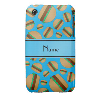 Personalized name sky blue hamburger pattern Case-Mate iPhone 3 case