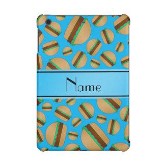 Personalized name sky blue hamburger pattern iPad mini cover