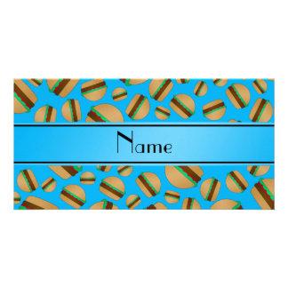 Personalized name sky blue hamburger pattern custom photo card