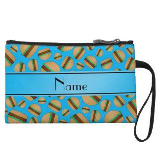 Personalized name sky blue hamburgers wristlet purse