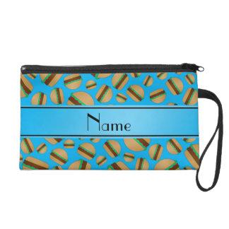Personalized name sky blue hamburgers wristlet purses
