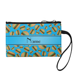Personalized name sky blue hamburgers coin purses