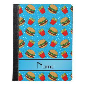 Personalized name sky blue hamburgers fries dots