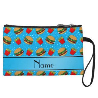 Personalized name sky blue hamburgers fries dots wristlets
