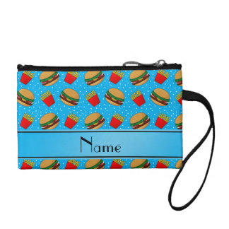 Personalized name sky blue hamburgers fries dots coin wallets