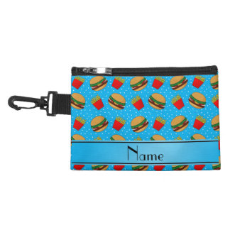 Personalized name sky blue hamburgers fries dots accessories bags