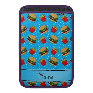 Personalized name sky blue hamburgers fries dots MacBook sleeves