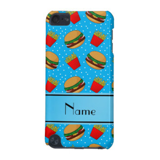 Personalized name sky blue hamburgers fries dots iPod touch (5th generation) case