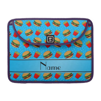 Personalized name sky blue hamburgers fries dots sleeves for MacBook pro