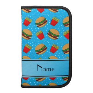 Personalized name sky blue hamburgers fries dots planners
