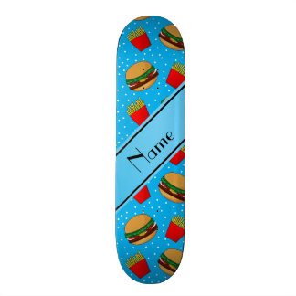 Personalized name sky blue hamburgers fries dots skate deck