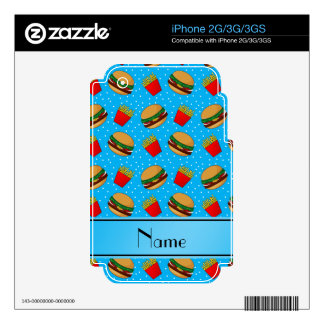 Personalized name sky blue hamburgers fries dots decals for the iPhone 3GS