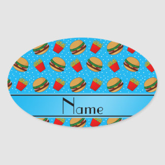 Personalized name sky blue hamburgers fries dots oval sticker