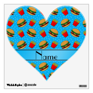 Personalized name sky blue hamburgers fries dots room decal