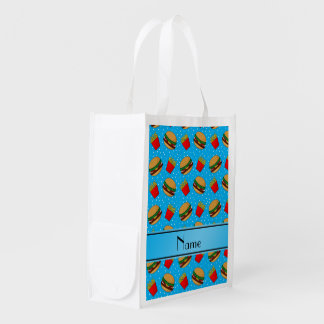 Personalized name sky blue hamburgers fries dots grocery bags