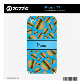 Personalized name sky blue hamburgers skins for the iPhone 4S
