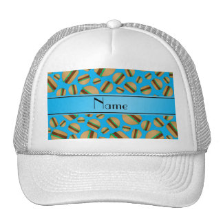 Personalized name sky blue hamburgers trucker hat