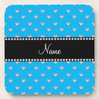 Personalized name sky blue heart diamonds drink coasters