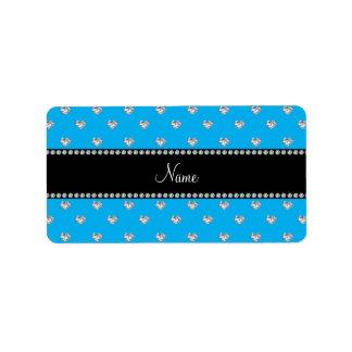 Personalized name sky blue heart diamonds custom address label