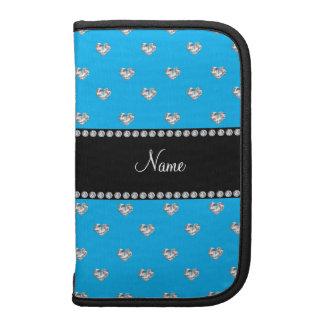 Personalized name sky blue heart diamonds organizer