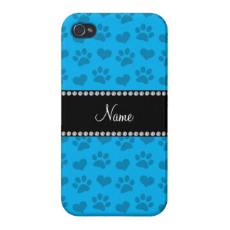 Personalized name sky blue hearts and paw prints covers for iPhone 4