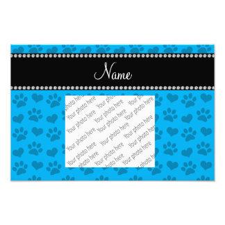 Personalized name sky blue hearts and paw prints photo
